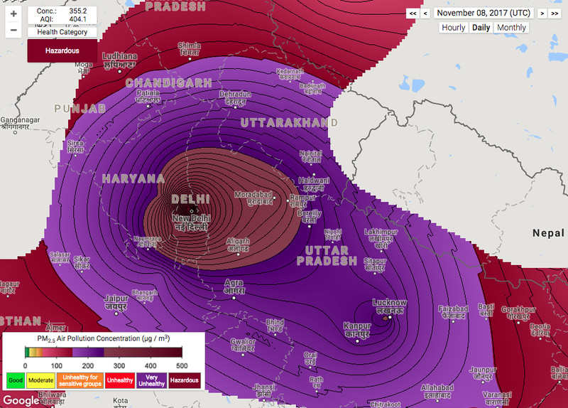 Eye of the storm: Pollution tracking map shows Delhi's black hole of smog in action