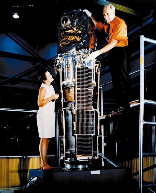 Scientists conduct Uhuru's pre-flight test, 1970.    NASA
