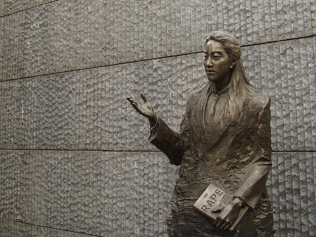 A statue of the late American author Iris Chang clasping her book  The Rape of Nanking  can be seen at the Nanjing Massacre Memorial Hall in Nanjing, China