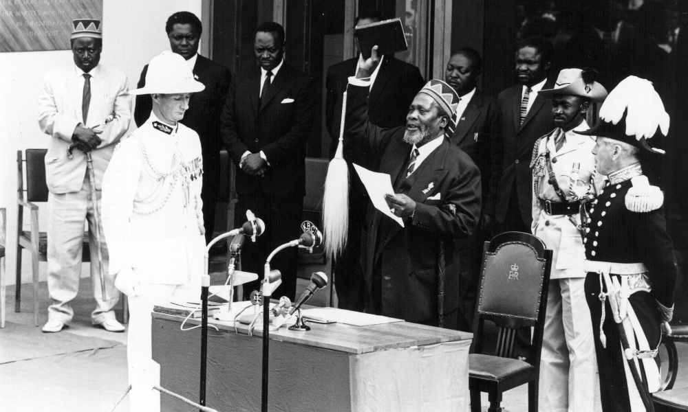 Jomo Kenyatta (father of current President Uhuru Kenyatta and himself first President of Kenya) celebrates Kenyan independence in 1963.