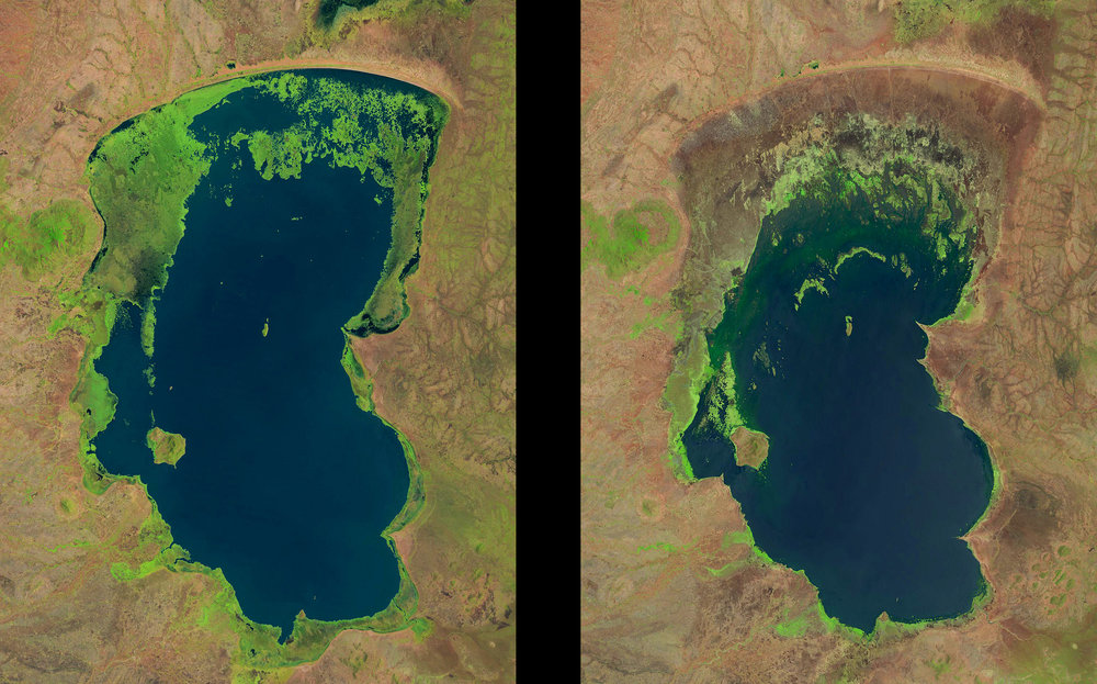 Satellite photographs of Lake Chilwa in 1991 (left) and 2013, showing the shrinking body of water |  U.S GEOLOGICAL SURVEY