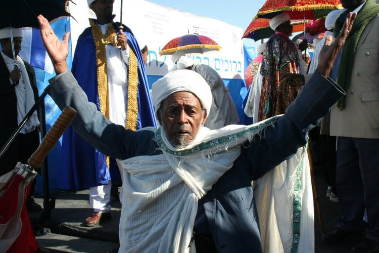 An Ethiopian-Israeli man celebrates the Ethiopian Jewish holiday of Sigd, which is reminiscent of Shavuot |  WIKIMEDIA COMMONS