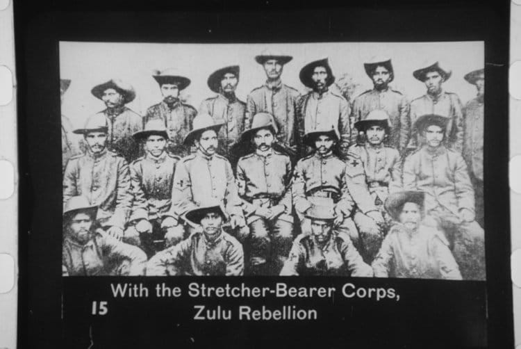 Gandhi (middle row, centre) serving in the colonial military during the Zulu Rebellion in 1906