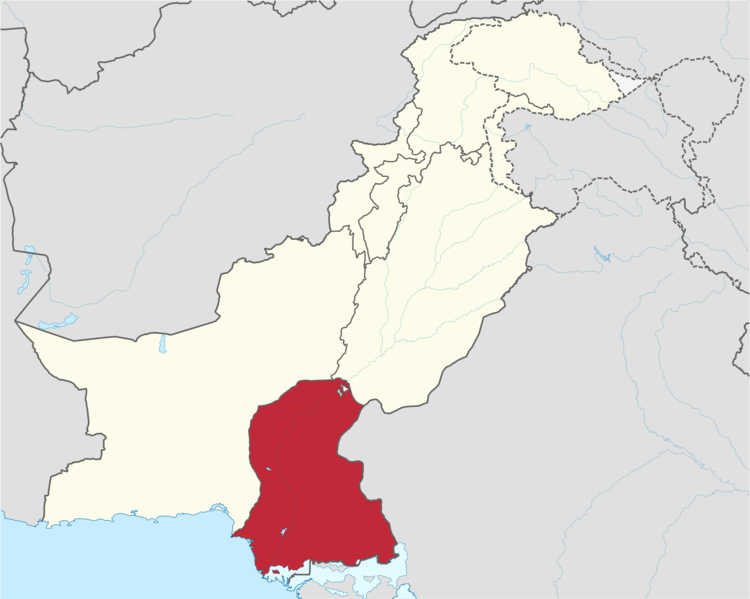 Location of Sindh province (in red) within Pakistan