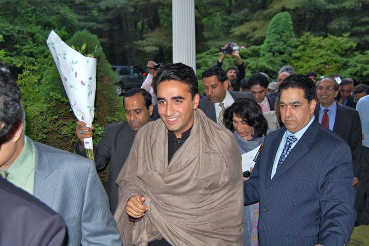 Bilawal Bhutto (centre) at a 2012 meeting of expat PPP supporters in the United States |  SHEHRYAR A. MALIK