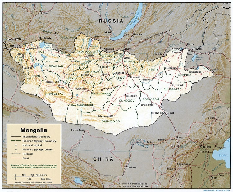 Surrounded by Russia and China - Map of Mongolia |  WIKIMEDIA COMMONS