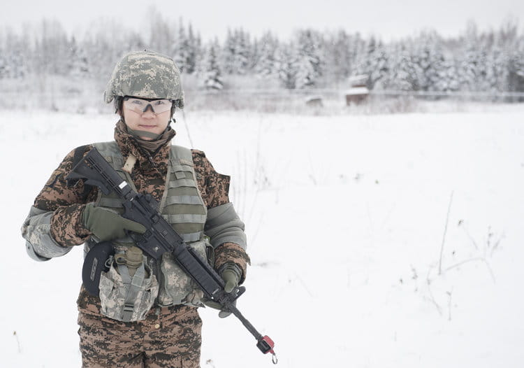 Mongolian Army Sgt. Mungunchimeg Nyamaajav stands ready to participate in the Warrior Leadership Course's Situational Training Exercise at Joint Base Elmendorf-Richardson, Alaska, Nov. 3, 2015. Nyamaajav is the first female Mongolian soldier to train with U.S. Army Alaska. |  U.S. ARMY/ SACHEL HARRIS