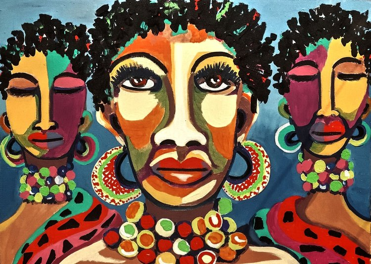 Painting of three women by South African artist Juanita Mulder |  PEXELS - JUANITA MULDER