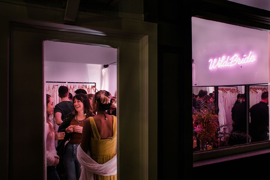 A peek into the pink-hued WildBride boutique from the outside