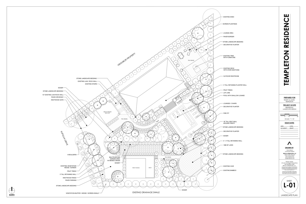 First draft of landscape design showing design with key area callouts. (Click to enlarge)