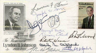 "Ten of LBJ's Cabinet member sign a FDC honoring the deceased U.S. President.FDC signed: ""Joseph W. Barr"", ""Clark M. Clifford"", ""Nicholas deB. Katzenbach"", ""Ramsey Clark"", ""Anthony J. Celebrezze"", ""Henry H. Fowler"", ""Lawrence F. O'Brien"", ""Robert C. Weaver"", ""Robert C. Wood"" and ""John W. Gardner"", 6½x2½. FDC honoring the memory of President Johnson, 8-cent stamp affixed, postmarked Austin, Texas, August 27, 1973."