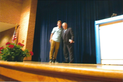 Zane VanFossen with CZ-Co-Founder John Celebrezze as he received the Officer Vincent R. Celebrezze Scholarship at Revere High School on May 19, 2017.
