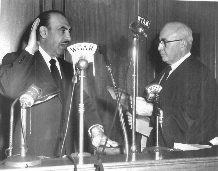 Anthony J. Celebrezze sworn in as Mayor of Cleveland by Judge Hurd, Circa 1953, Photo from The  Plain Dealer  Library, July 26, 1962