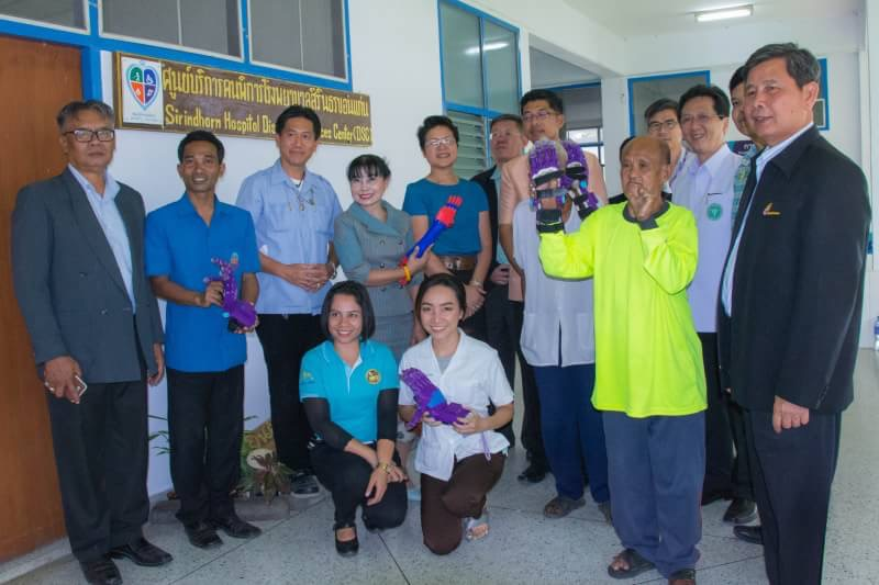Staff and dignitaries at Sirindhorn Hospital with one of our first clients, Mr. Cumnunt