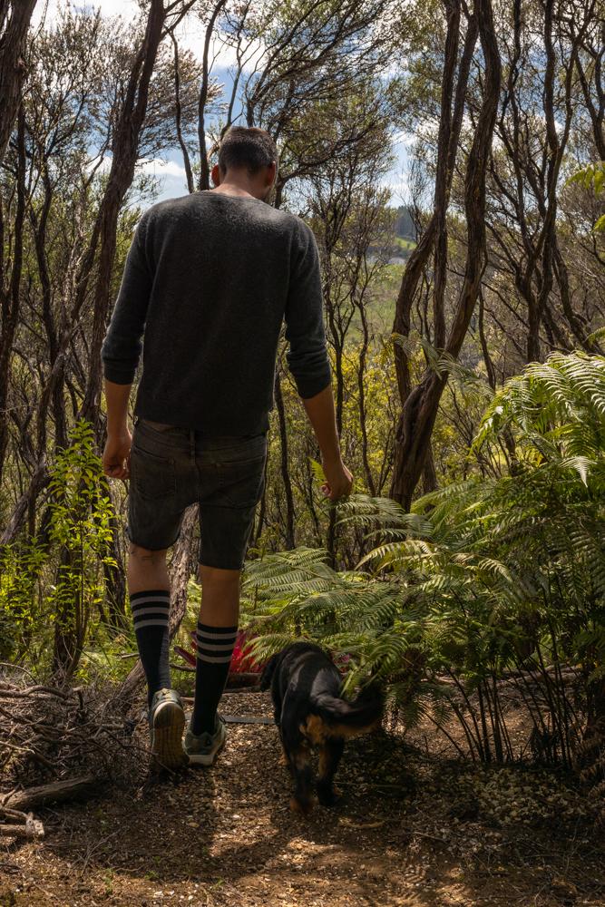 Toby und George unterwegs durch den privaten Bush Walk runter zum Olivenhain