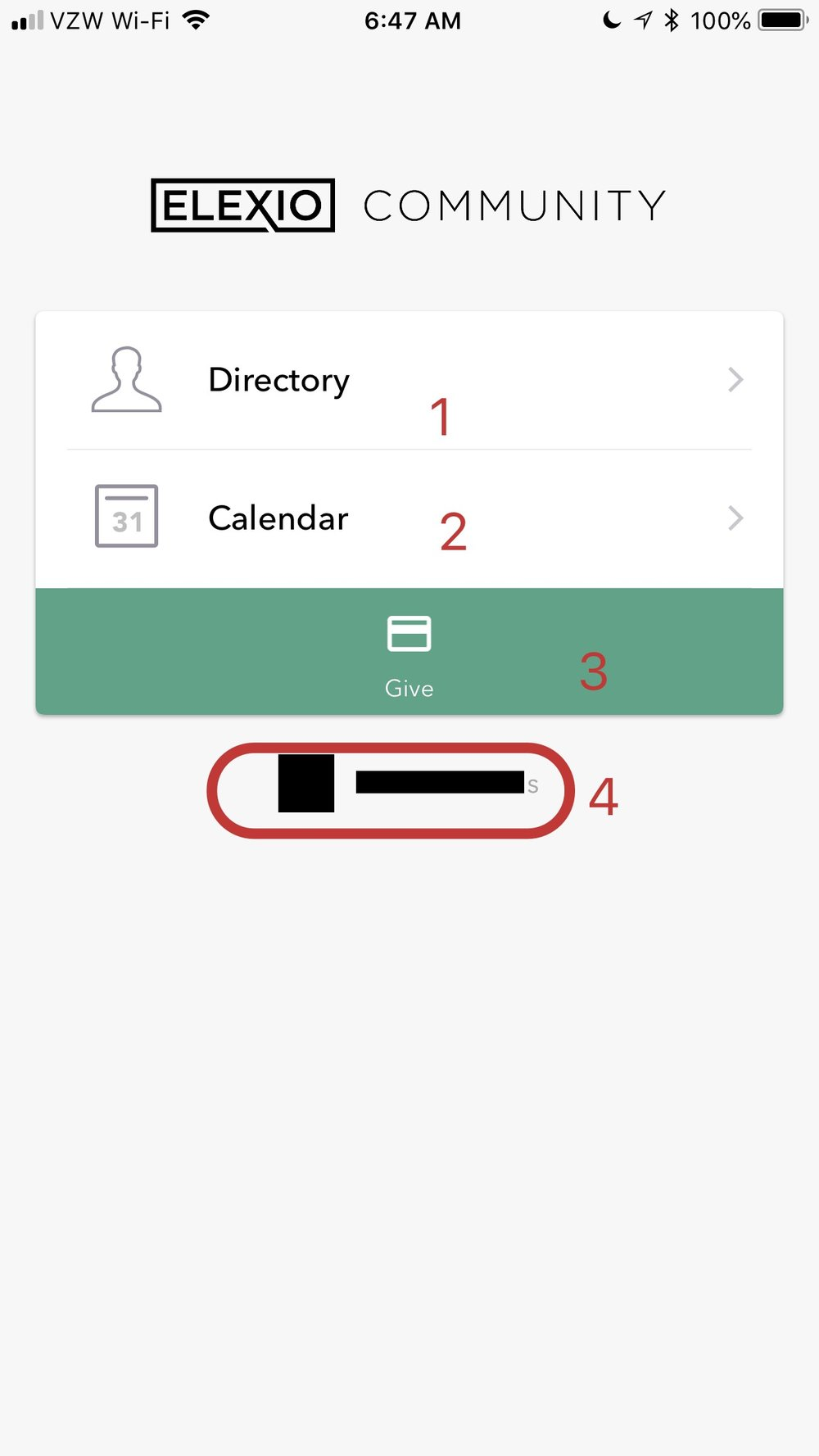 Top choices in the Elexio Community App - 1. Directory. Tap this to search for people at Holy Trinity.2. Calendar. Tap this to view the Holy Trinity Calendars3. Give. Tap this green bar to go to screen where you can arrange a donation to Holy Trinity4. Account Information. In place of the blanked out picture and text, you'll see on your smartphone your Holy Trinity picture and your name. Tap on this name and picture to go to your account page