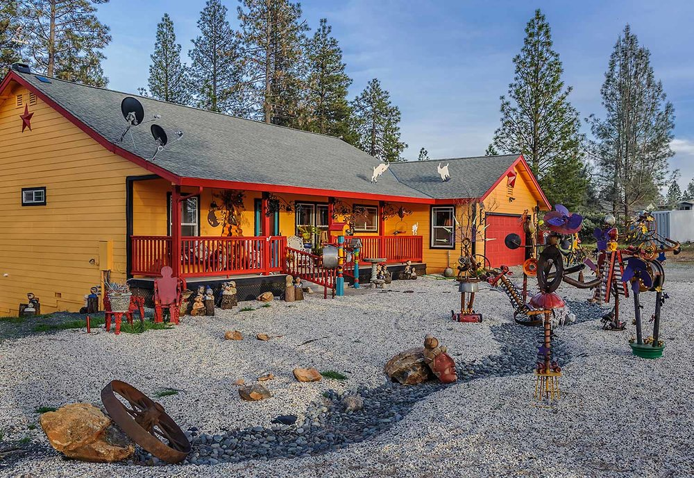 My colorful house and metal sculptures, just eight minutes from downtown Nevada City. See you soon!