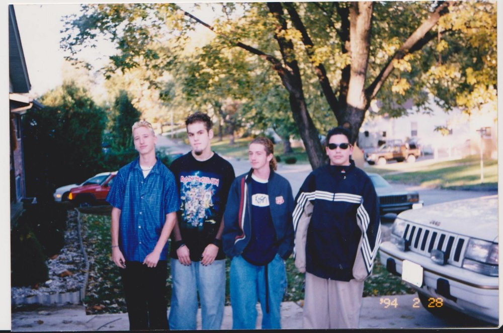 My high school rock band, Cleared Out, right before our first ever live show in the 90s. I'm on the far right.
