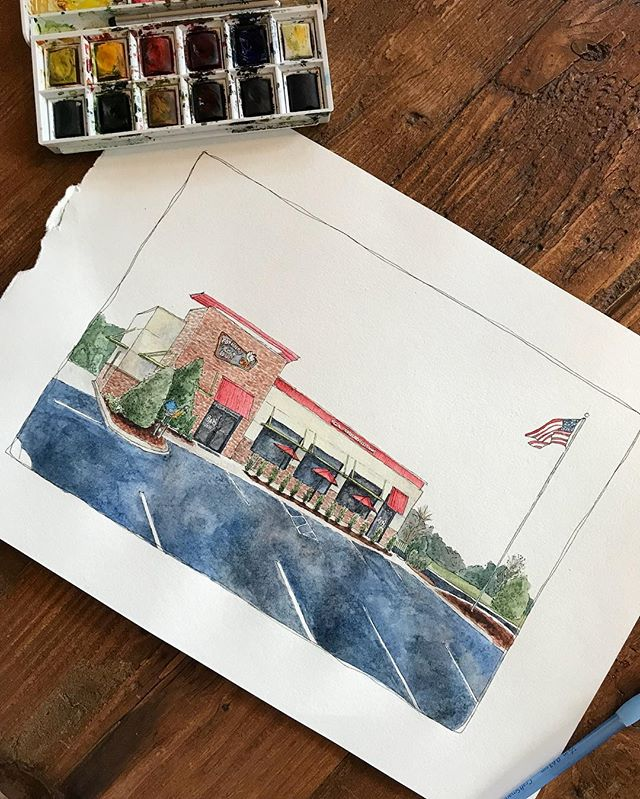 Another commission off to a happy home ☺️ Got a favorite spot in town? Personal paintings would make a great stocking-stuffer or last minute gift. Great to remember anniversaries, retirements, proposals or just a memorable hangout. DM or email at smw1030@gmail.com.