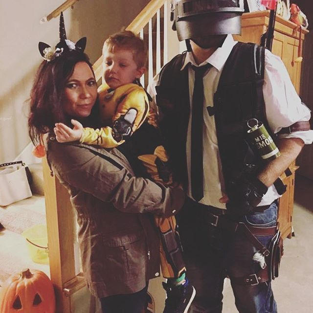 My beautiful unicorn and energized bumble bee from last night.  We had a great time taking him to get candy. #halloween #trickortreat #bumblebee #unicorn #pubg #halloweencostumes #family