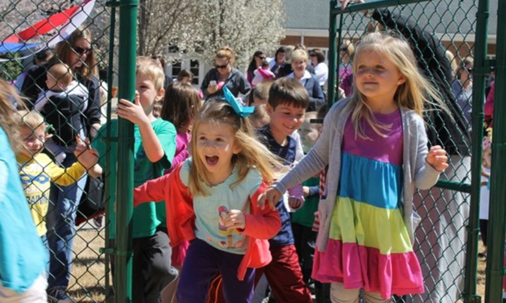 Children entering playground