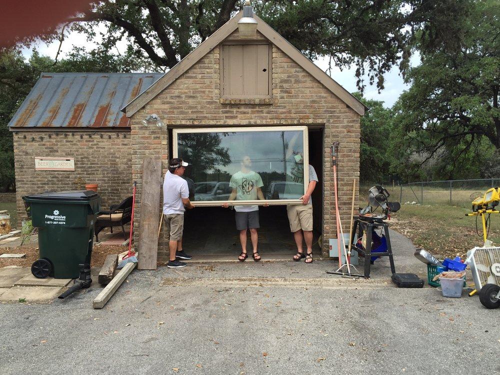 Replacing the garage door with our kitchen window.