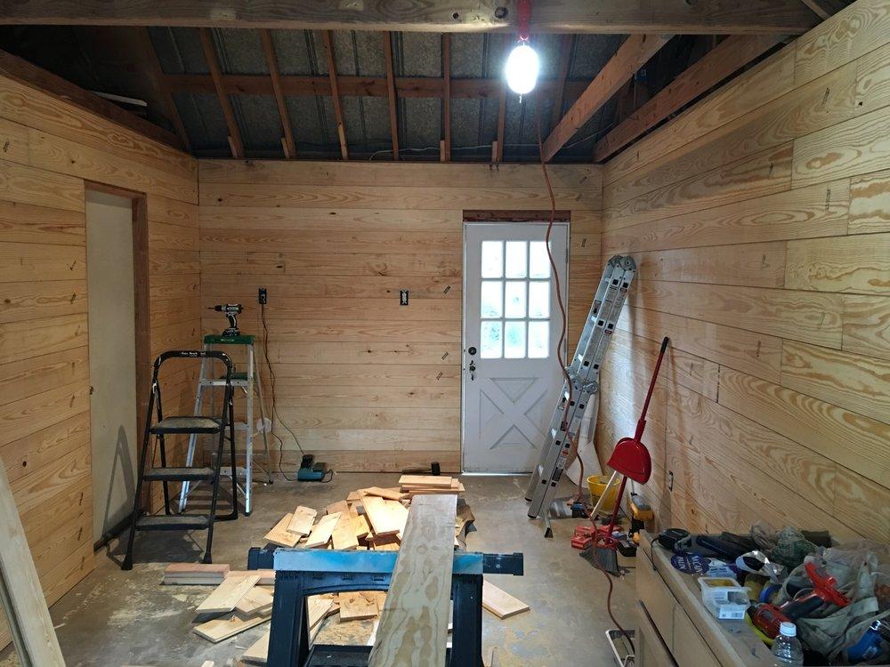 Overview of the inside. Back door is in!