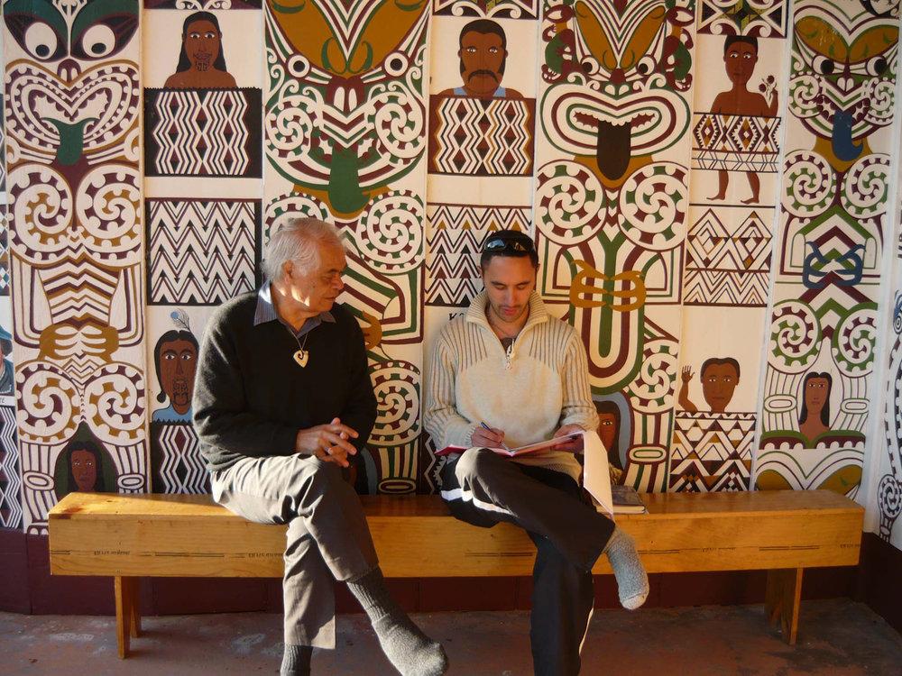 ABOVE: Kaumatua Haare Williams and Jamaine Fraser,Ngā Aho Hui-a-Tau, Rongopai Marae,2011