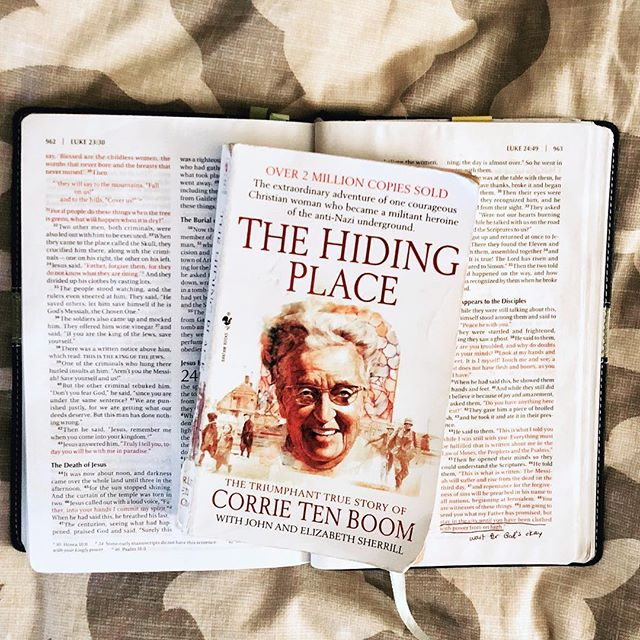 """I feel fairly confident that I was supposed to read this book in high school and I also feel fairly confident that if I did, not even an ounce of the truth it is filled with really sunk in. This story is an incredible testimony to the power and love of God and the work that He can do even in the darkest of places - even in a concentration camp in Nazi Germany. I hope to cling to God's Word in the Bible as tightly as Corrie and her family did.  They knew the power it held, the sustenance it provided. And she clung to it, smuggling it from camp to camp and sharing it with everyone around her. If you don't recall reading this book, I hope you will pick it up again.  And I thought I'd share some of my favorite quotes here: . """"But as the rest of the world grew stranger, one thing became increasingly clear. And that was the reason the two of us were here. Why others should suffer we were not shown. As for us, from morning until lights-out, whenever we were not in the ranks for roll call, our Bible was the center of an ever-widening circle of help and hope. Like waifs clustered around a blazing fire, we gathered about it, holding out our hearts to its warmth and light. The blacker the night around us grew, the brighter and truer and more beautiful burned the word of God. 'Who shall separate us from the love of Christ? Shall tribulation, or distress, or persecution, or famine, or nakedness, or peril, or sword?...Nay in all things we are more than conquerors through him that loved us.'"""" . """"And so I discovered that it is not on our forgiveness any more than our goodness that the world's healing hinges, but on His. When He tells us to love our enemies, He gives, along with the command, the love itself."""" #WhatImReading #ABetterWay #TheHidingPlace"""