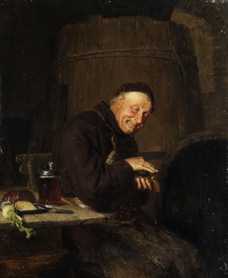 Monge cervejeiro no quadro pendurado na parede do Benedito Santo Chopp