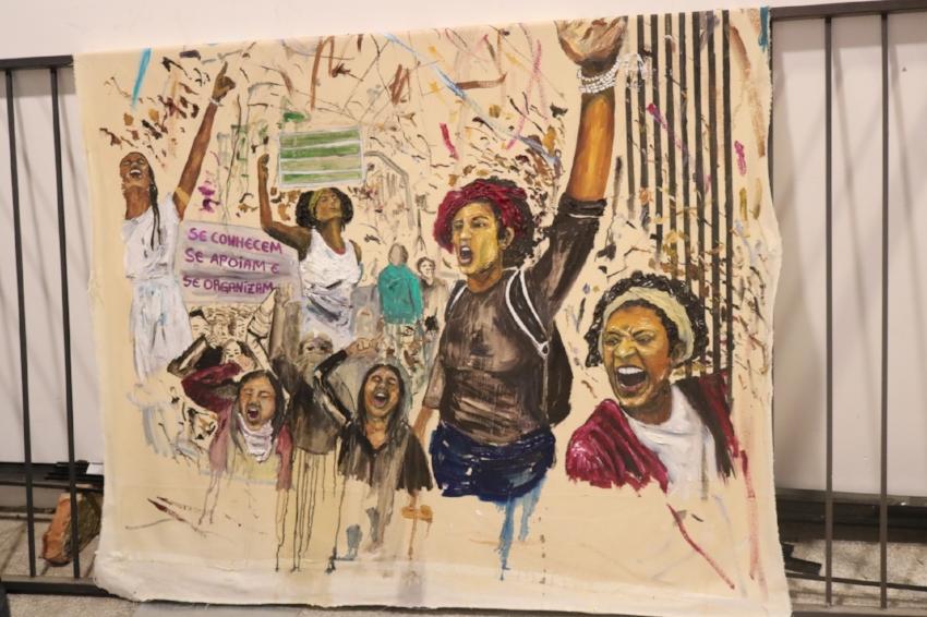 Presente , pintura de Camila Soato: homenagem a Marielle Franco criada durante estadia na Bronze Residência (Foto/Divulgação)