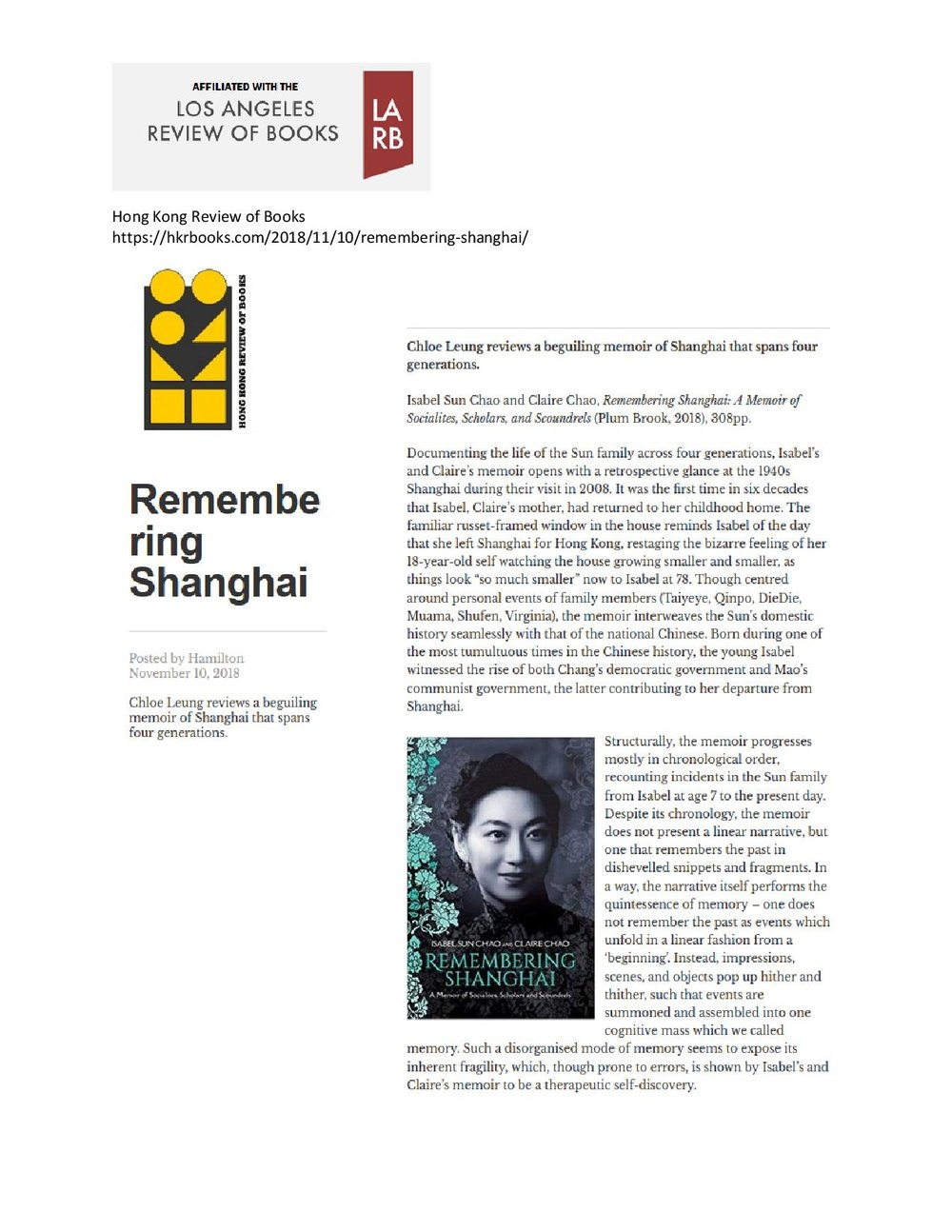 Hong Kong Review of Books,  November 2018