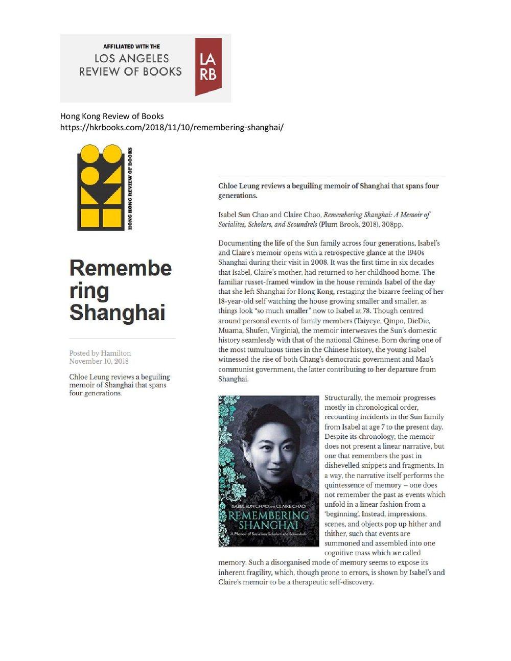 Hong Kong Review of Books,  November 2018