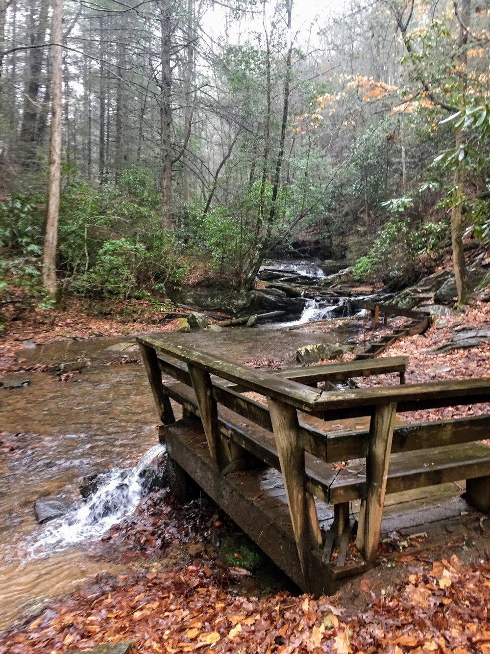Serene babbling waterfall.