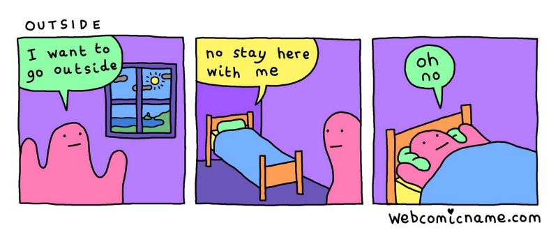 Mental Health & Disability - IMAGE DESCRIPTION: A three frame comic of a pink blob that says