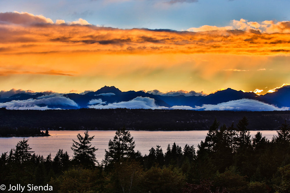 The Olympic Mountains, featuring The Brothers Mountain, bask in