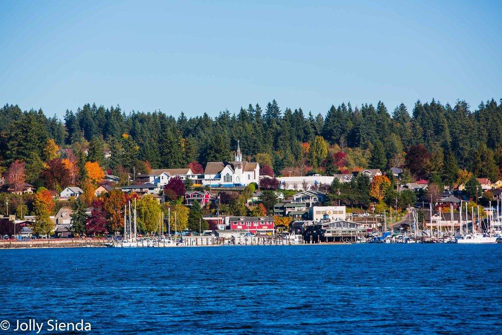 Town of Poulsbo, Washington with at autumn