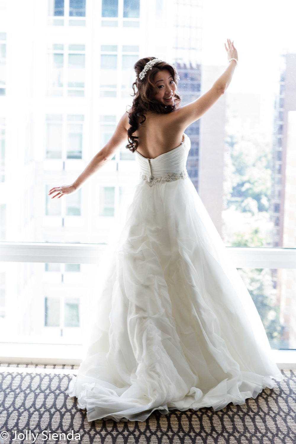 Bride and the back of her gown