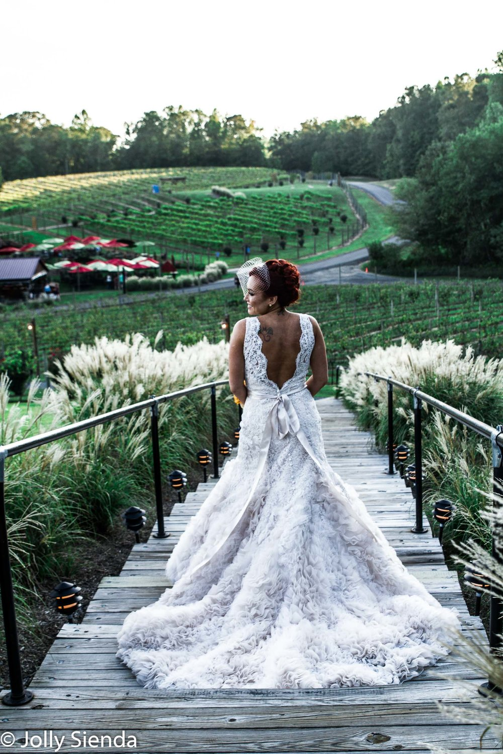 Outdoor vineyard wedding with the back of the bride and her dres