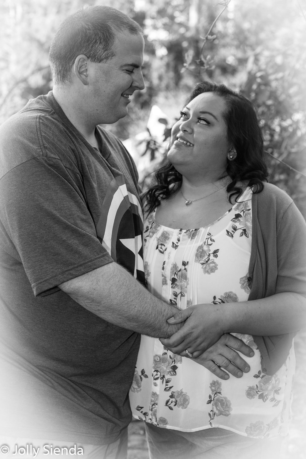 Engaged Couple, Black and white Engagment Portrait