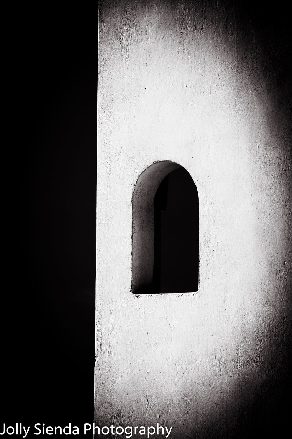 Black and White Curved, Greek, White Washed, Stucco, Window