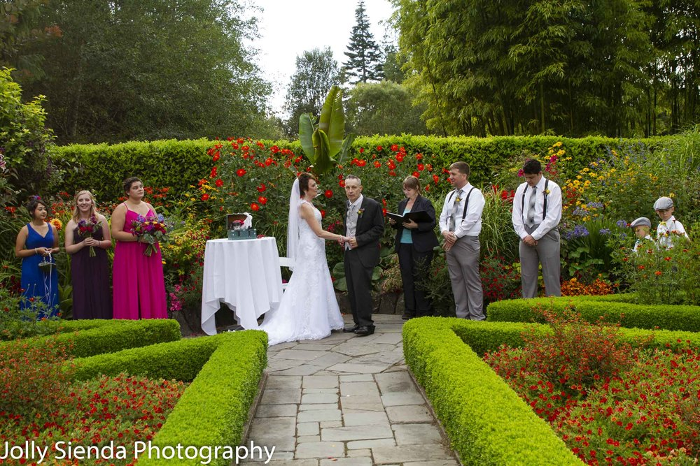 The floral British style garden sanctuary where Calvin wed Kyle McInnis.