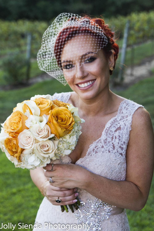 Bride with a half veil