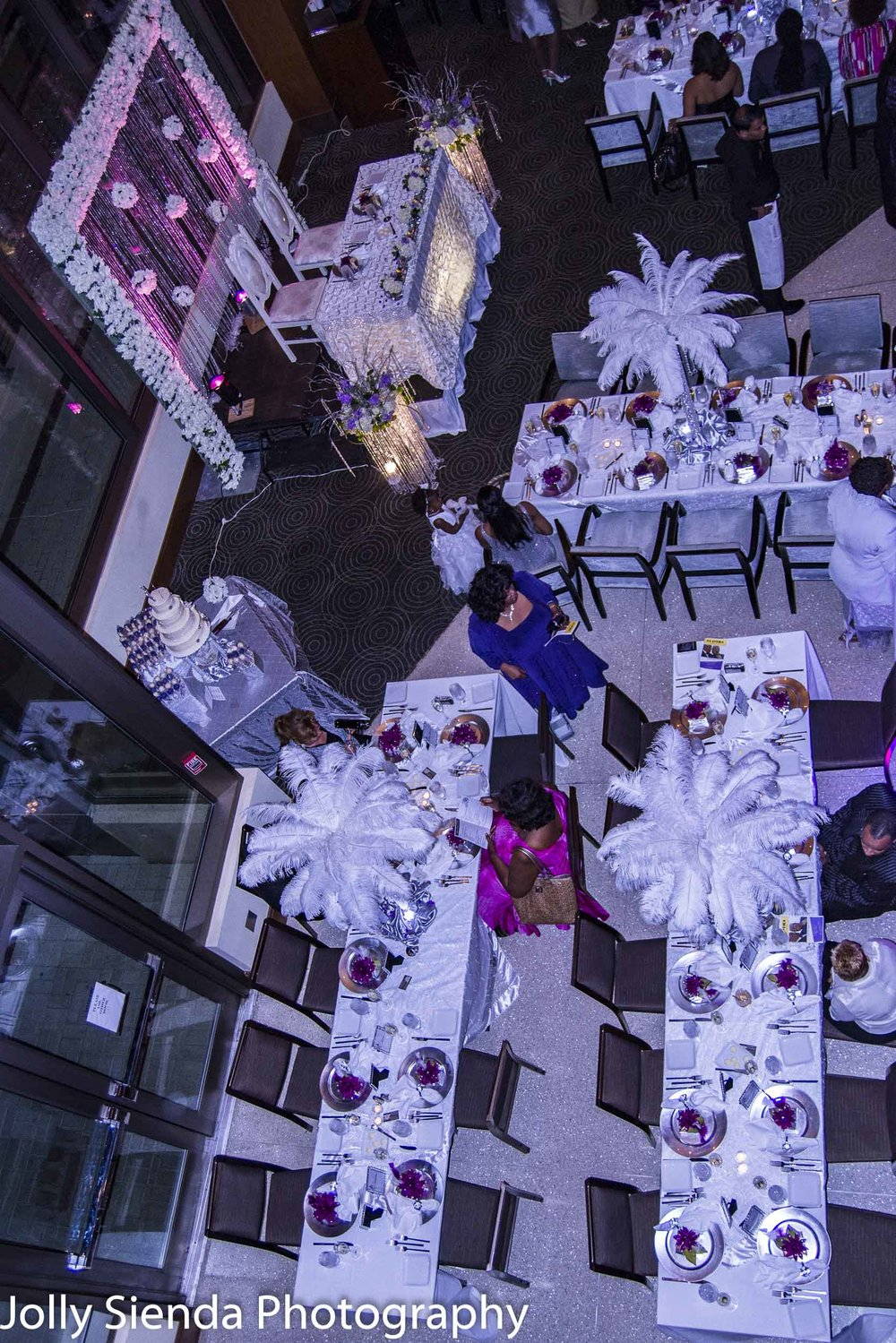 Ostrich feathers and purple wedding decor