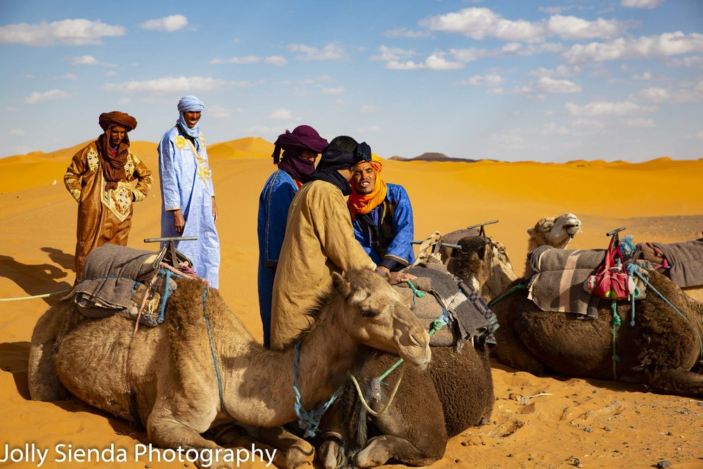 Camel herders prepare camels for the trek