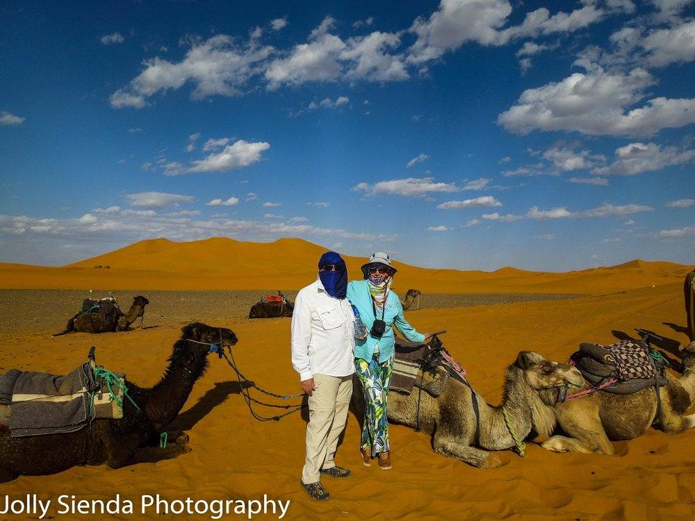 Jolly Sienda and Richard Anderson, camel trek