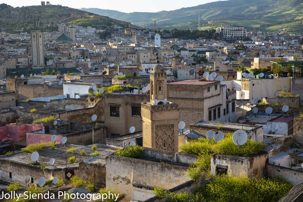 Ancient city of Fes, its mosques and tile roofs