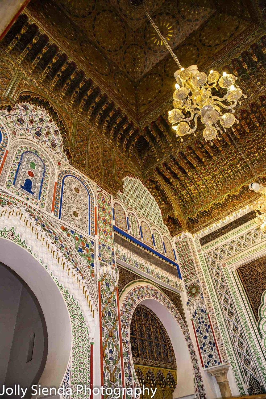 Opulent ceiling and walls at Medersa el-Attarine