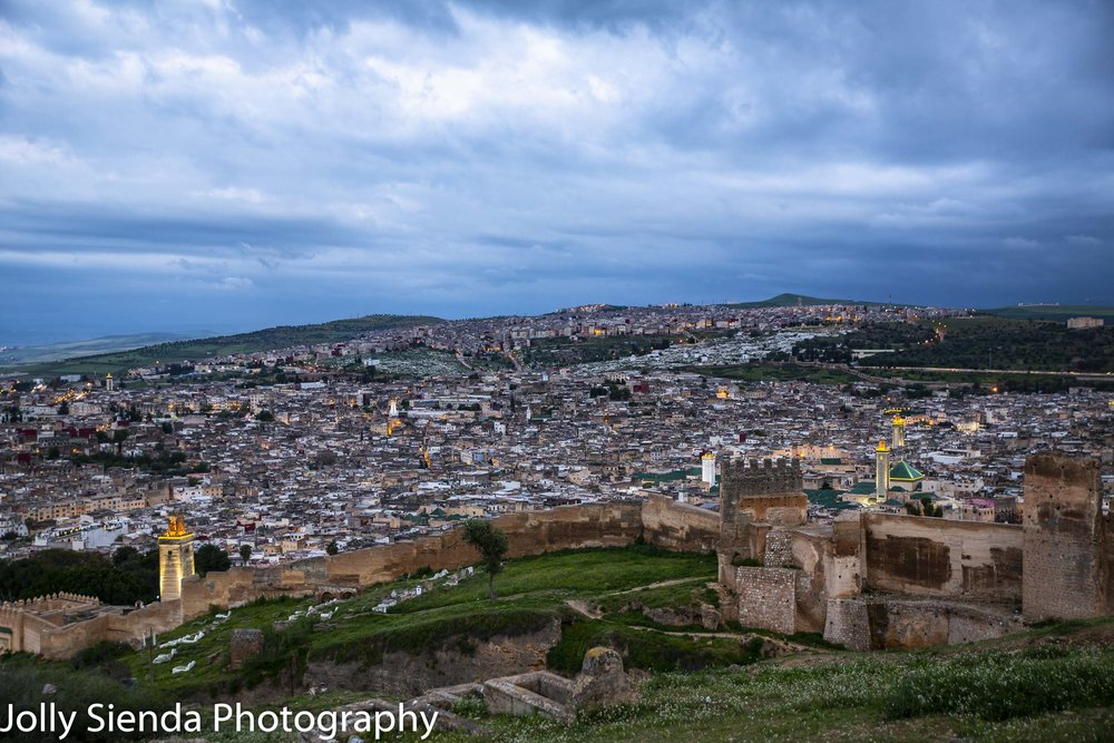 Lights of the city of Fez at dusk