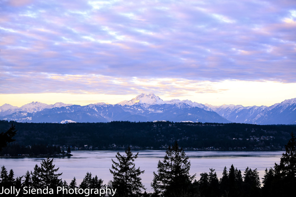 Pastel cumulus clouds rise over snow covered Olympic Mountains a